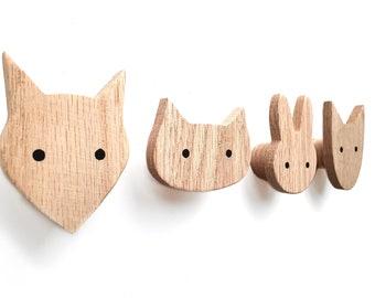 Animal wall hooks for kids made of wood, fox, bunny, dog, cat, animals, nursery, coat hook, wardrobe, scandi style, gift idea