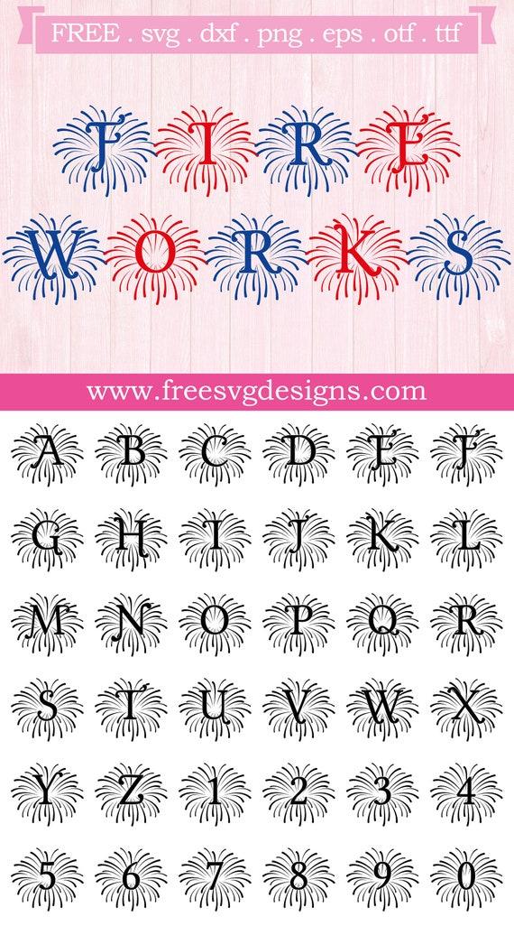 Fireworks Monogram Font Free Svg Files Svg Png Dxf Eps Etsy