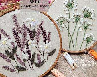2 Pack DIY Beginner Embroidery Kit- Floral Flower Pattern-Pre Print Fabric-embroidery kit beginner-Hoop art-DIY Craft Kit-Birthday Gift