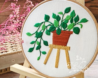 Green plant embroidery kit-Handmade Embroidery -Wall decoration kit - Flower Embroidery- Party gift- Kids Crafts-Needlework Kit -hoop art