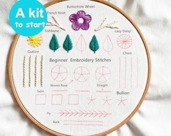 Beginner Embroidery Kit-Learn 10 different stitches-Embroidery kit beginner-How to start embroidery-fabric-needle kit-birthday gift-handmade