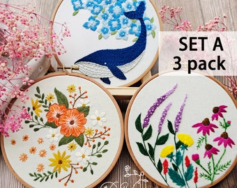 3 Pack embroider kit-Beginner Embroidery Kit, Flowers Embroidery Kit, Handmade craft, DIY craft gift, embroidery design-Birthday Gift