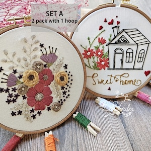 Party Gift Modern Embroidery Needlework Kit Handmade Embroidery Wall Decoration Kit 3 Pcs Green Plant Embroidery Kit