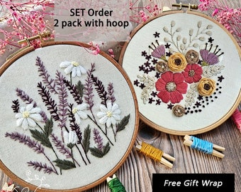 2 pack embroidery kit-Handmade Embroidery-gift for her-Flower Embroidery Design-Needlepoint-DIY Craft Kit-Birthday Gift-Wall decor-Craft
