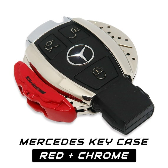 Set Red Leather /& Chrome Alloy Key Ring Fits For All AMG Model Fobs Cases
