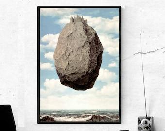 RENE MAGRITTE La chateau des Pyrenees Art Print 28x20 Falling Rock Poster