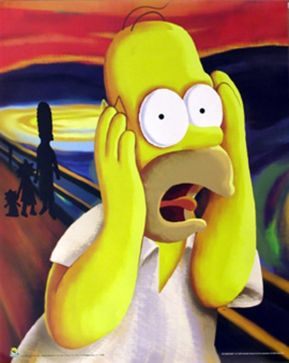 Homer Simpson De Schreeuw The Simpsons Vintage Poster 16 X 20