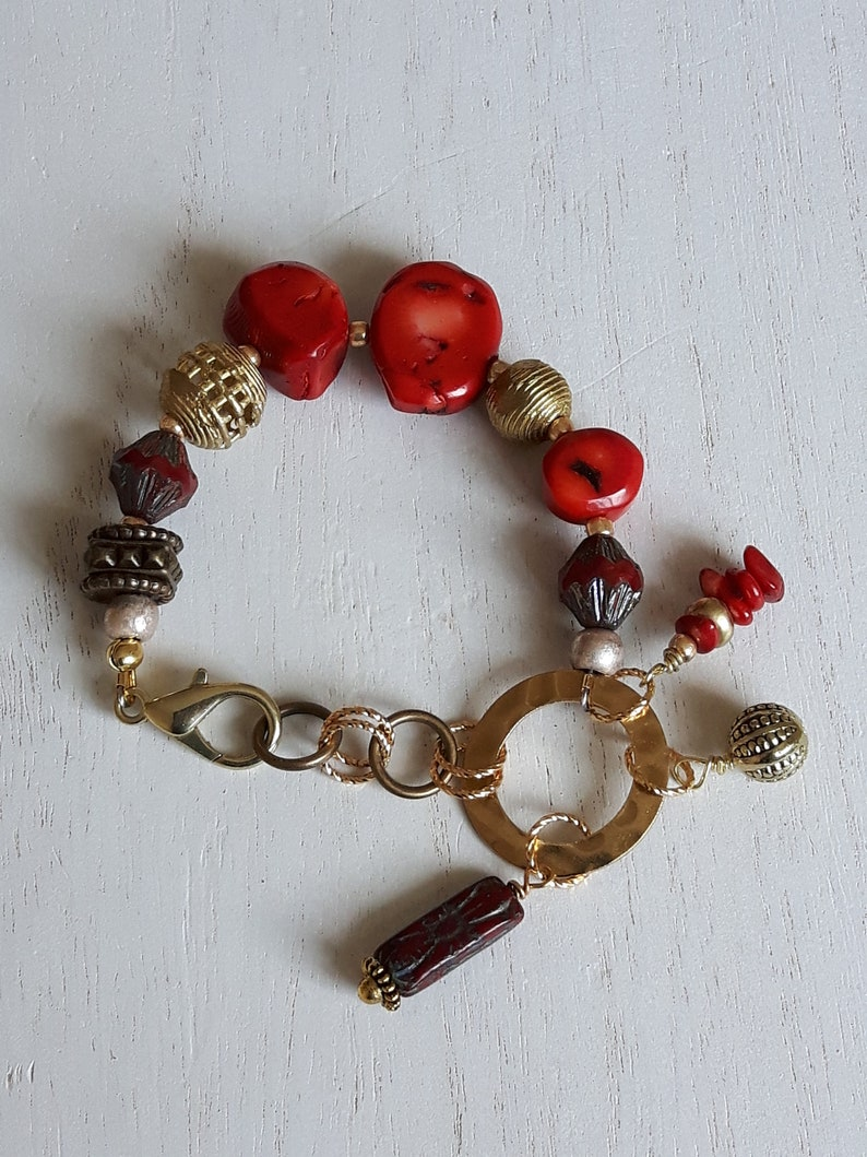 African Pearls and Czech Republic Red Boho bracelet for women Gold Gift for her Declaration Gift Valentine/'s Gift