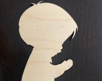Praying Girl 1 Style Unfinished Wood Shape Cutout Variety Sizes USA Made