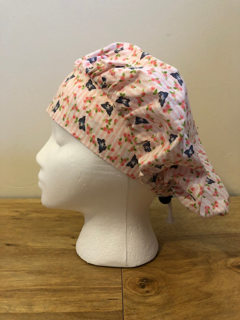 Surgical Caps Scrub Caps Pink Roses and Blue Birds Bouffant Cap Style Scrub Cap for Women