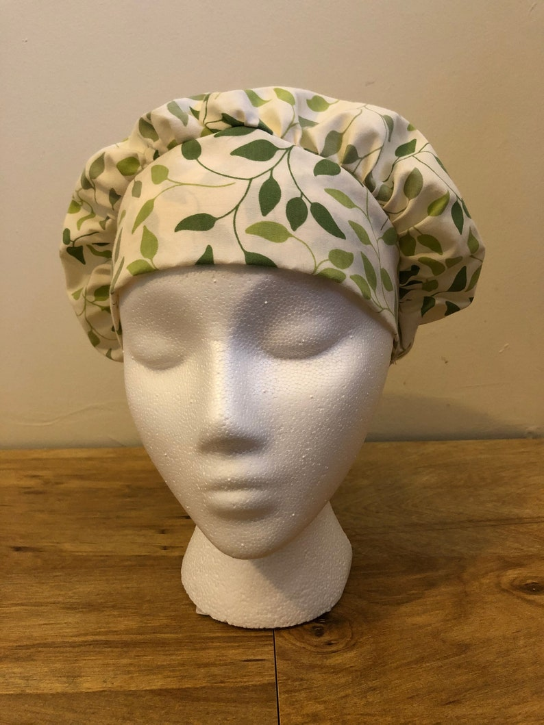 Surgical Caps Scrub Caps Green Leafs and Branches Bouffant Cap Style Scrub Cap for Women