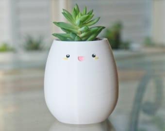 Small Smile Pencil holder, Succulent/Flower Pot Planter for Indoors, Windowsill Plant Pot, Home/Office Desk Decor, Cute Gift