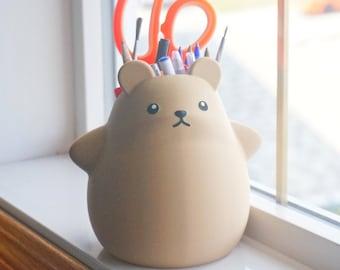 Chubby Bear Planter / Pen Pencil Holder, Succulent Planter, Stationery Organizer, Office Desk Decor, Cute Kawaii Plant Pot, Adorable Animal