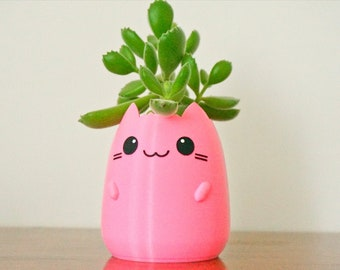 Cat Planter with Arms and Smile, Succulent Planter, Anime Kitty Pot, Cute Office Desk Planter, Cat Pet Lover Gift