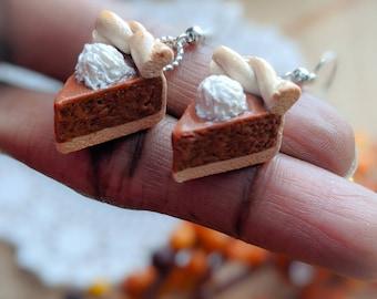 Miniature Pumpkin Pie Earrings  Fall inspired Jewelry  Miniature Food Jewelry