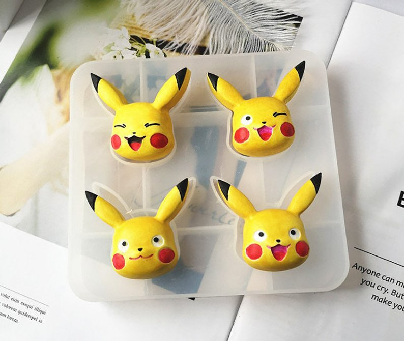 4 holes pikachu resin mold  Making key pendant silicone mold Aromatherapy  plaster mould