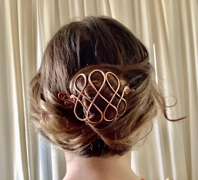 hair clip copper hair cage hair pin hair stick copper looped hair accessory copper wire hair barrette Metal hair slide