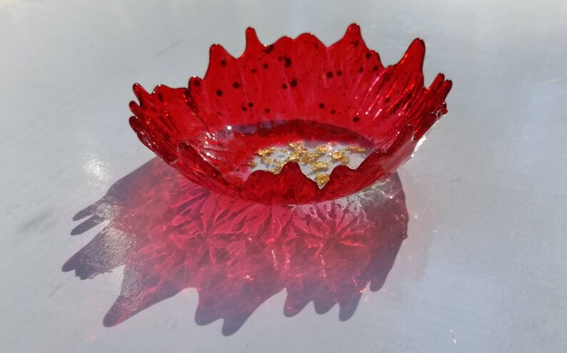 change Brilliant ruby red /& gold flake center handmade resin small ring dish for trinkets and jewelry