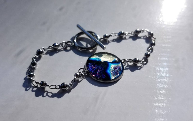 /& blue and purple shimmer Stainless bracelet with hand painted cabochon metallics deep blues