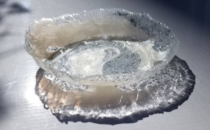 handmade small ring dish for trinkets and jewelry Pearl white shimmer with silver flakes in clear resin swirl change