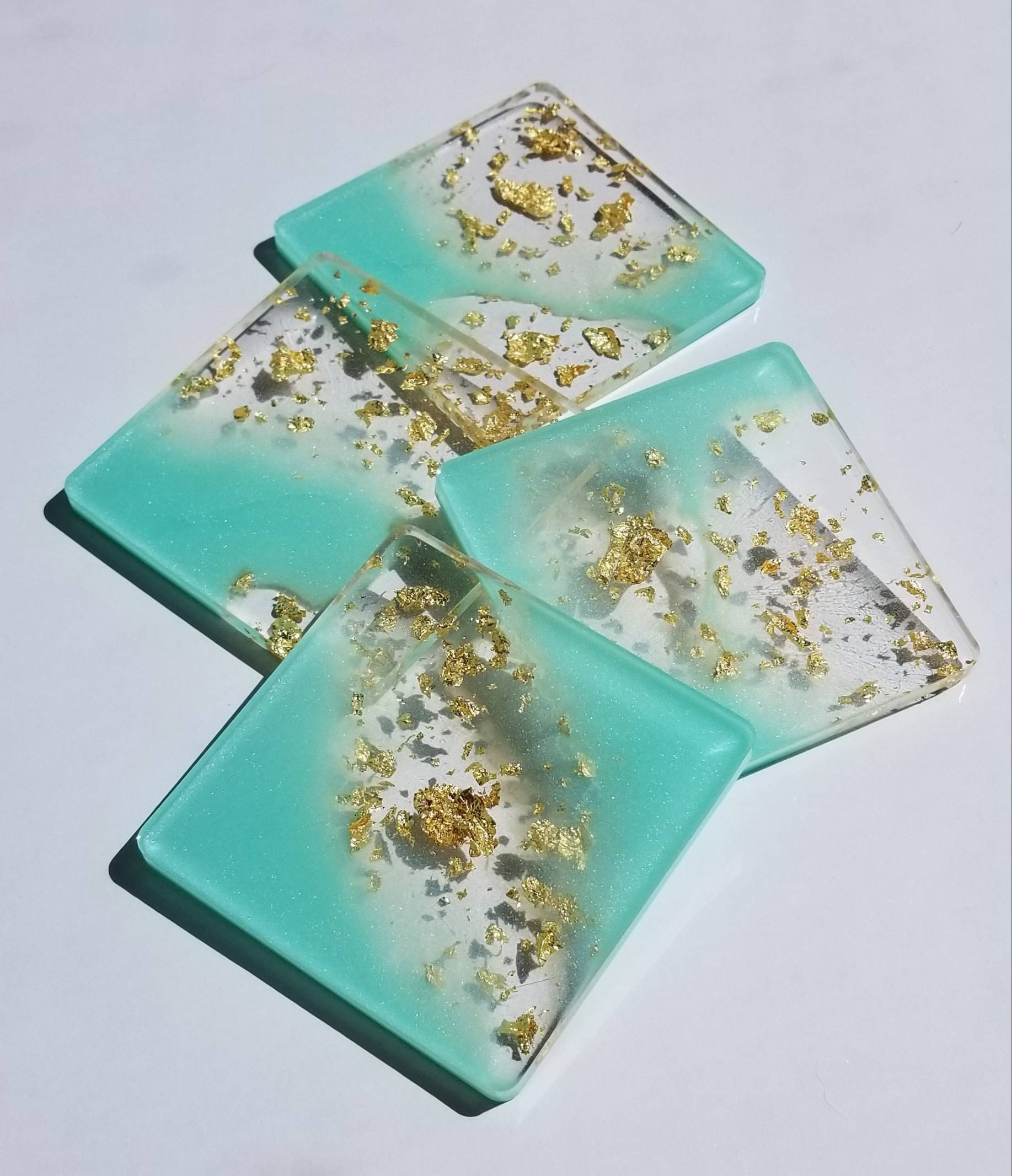 Seafoam green and silver flake coaster handmade set of 4\u00a0