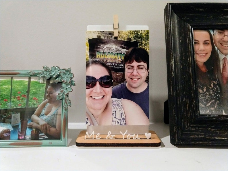 Me & You Wood Photo Stand / Wood Picture Holder / Wooden Photo image 0