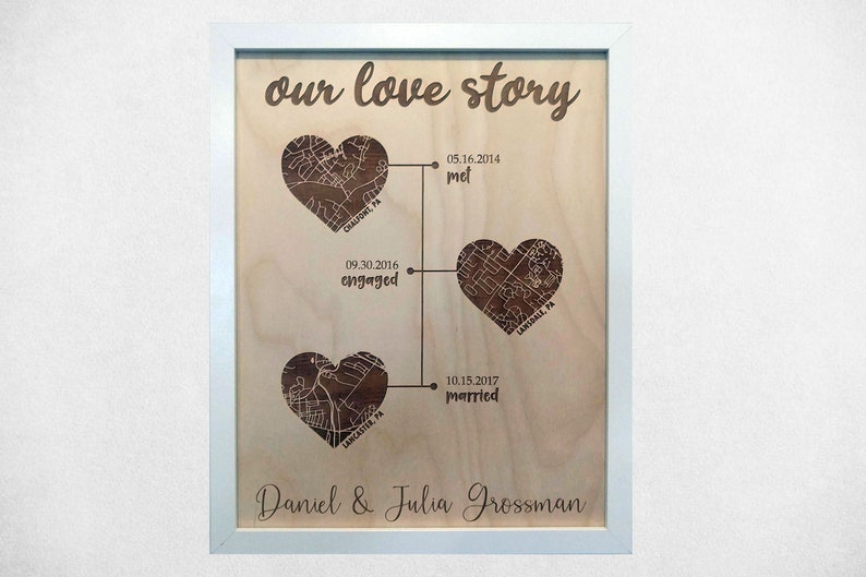 WOOD Our Love Story Timeline / Met Engaged Married / 3 Heart image 0
