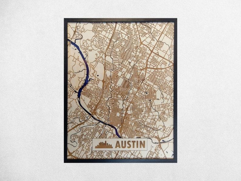 Austin 3D Wooden Map  Modern Minimalist Wood & Acrylic TX image 0