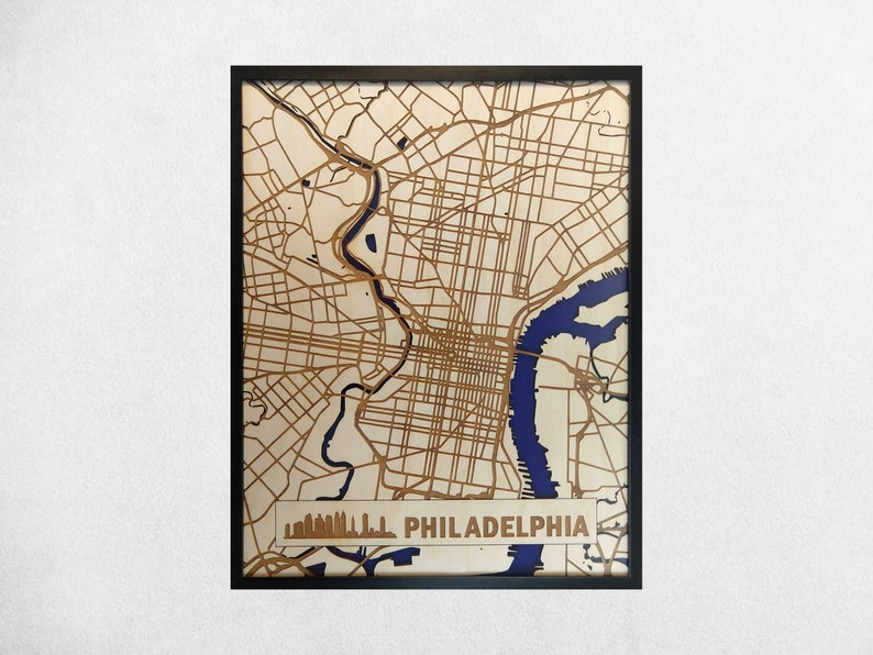 Philadelphia 3D Wood & Acrylic City Streets Map  Modern image 0