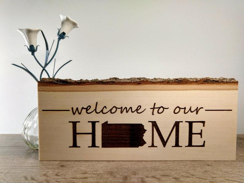 Pennsylvania PA Sign Living Bark Edge Wood Welcome Home image 0