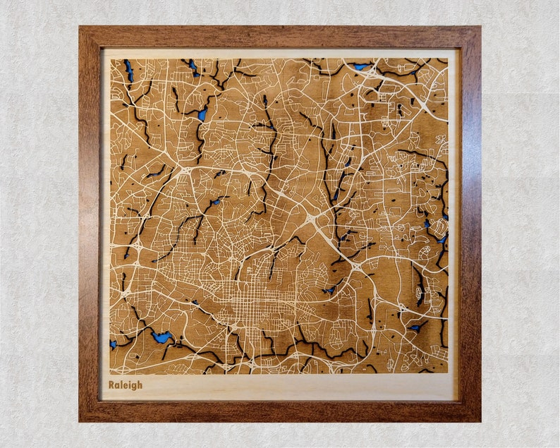 Raleigh NC 3D City Map  Wood Laser Cut Map  NCSU Gifts NC 12x12 inches