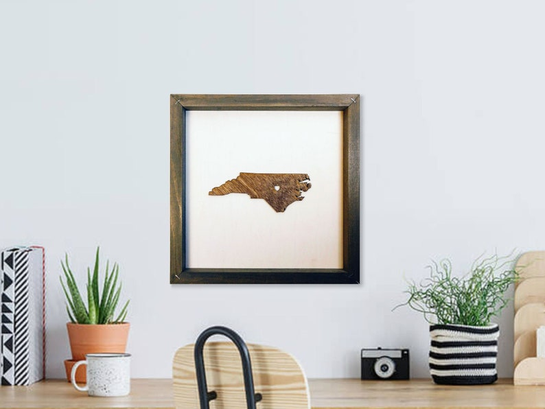 Rustic Wood North Carolina NC Map / Personalized State Wall image 0