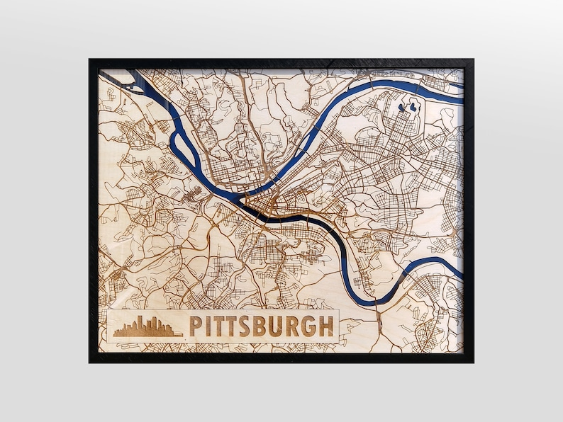 Pittsburgh 3D Wood & Acrylic City Streets Map  Modern image 0
