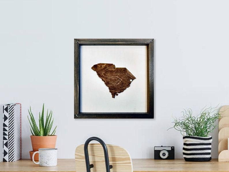 Rustic Wood South Carolina SC Map / Personalized State Wall image 0