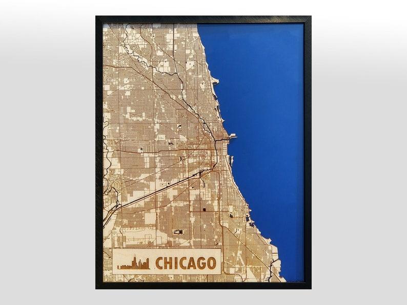 Chicago 3D Wood & Acrylic City Streets Map  Modern Minimalist image 0