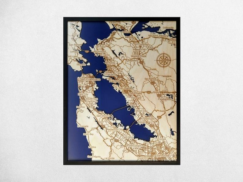 Bay Area 3D Wood & Acrylic Map  Modern Minimalist Wooden San image 0