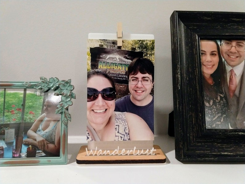 Wanderlust Wood Photo Stand / Wood Picture Holder / Wooden image 0