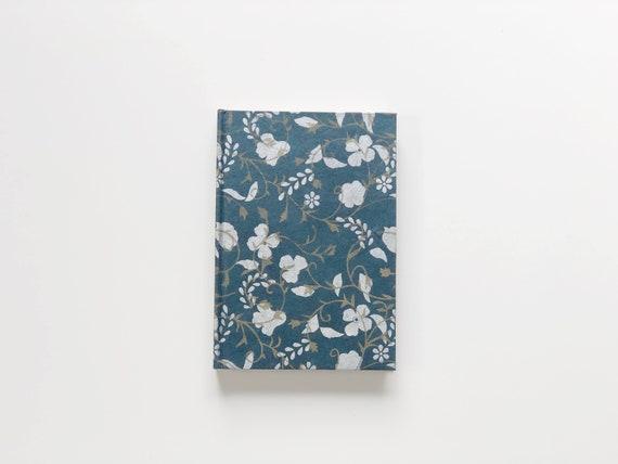 Handmade paper notebook | White & Gold Flowers on Blue