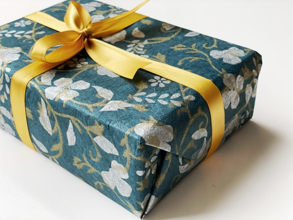 Gift wrapping paper (2 sheets) | White & Gold Flowers on Blue