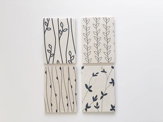 A5 Handmade paper notebooks (4 books) | Botanicals