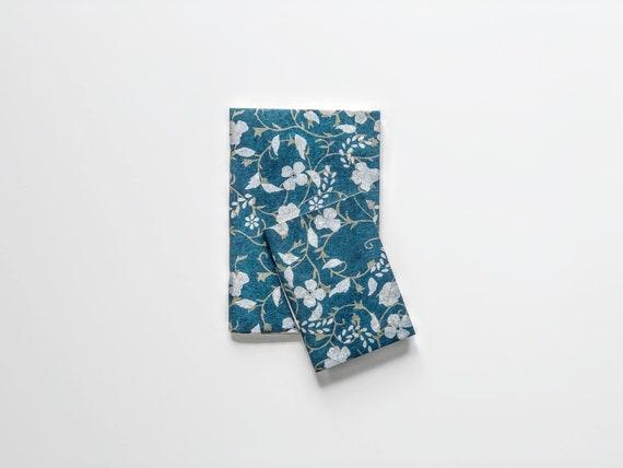 Handmade paper notebooks (2 books) | White & Gold Flowers on Blue
