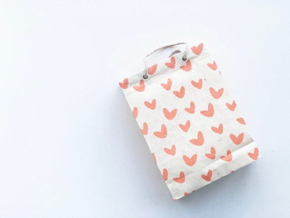 Gift bag (2 bags) - Sweet Hearts | pastel pink