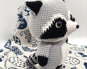 Crochet Raccoon Doll, Handmade Raccoon Doll, Amigurumi Raccoon Doll, Stuffed Plushies Raccoon, Soft Raccoon Doll, Stuffed Plush Animal