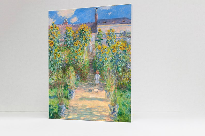 The Artist/'s Garden at V\u00e9theuil Impressionist Artwork Digital Reproduction on Stretched Canvas by Claude Monet 16 x 20 in. 1881