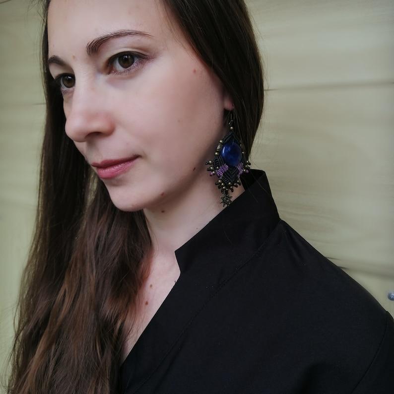 Statement navy blue black oversized Earrings edgy goth earrings Macrame tribal fusion huge earrings