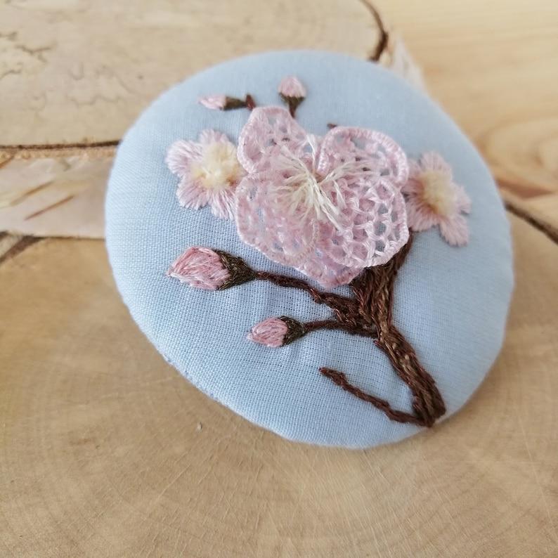 Hand embroidered designer brooch Sakura flower Miniature botanical embroidered picture