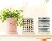 Stylish Pink and Champagne Ceramic Planter with a Tray, Minimalist Planter, Scandinavian Cactus Planter Pot, Haworthia Modern Planter Indoor