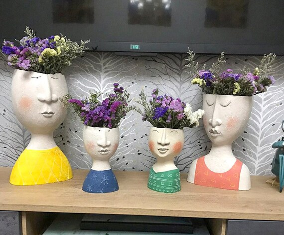 Nordic Human Head Flower Vase For Garden Ornaments Doll Sculptures Potted Plants