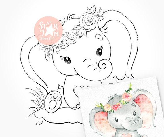 Little Elephant Digi Stamp Coloring Page Digital Art Baby Etsy