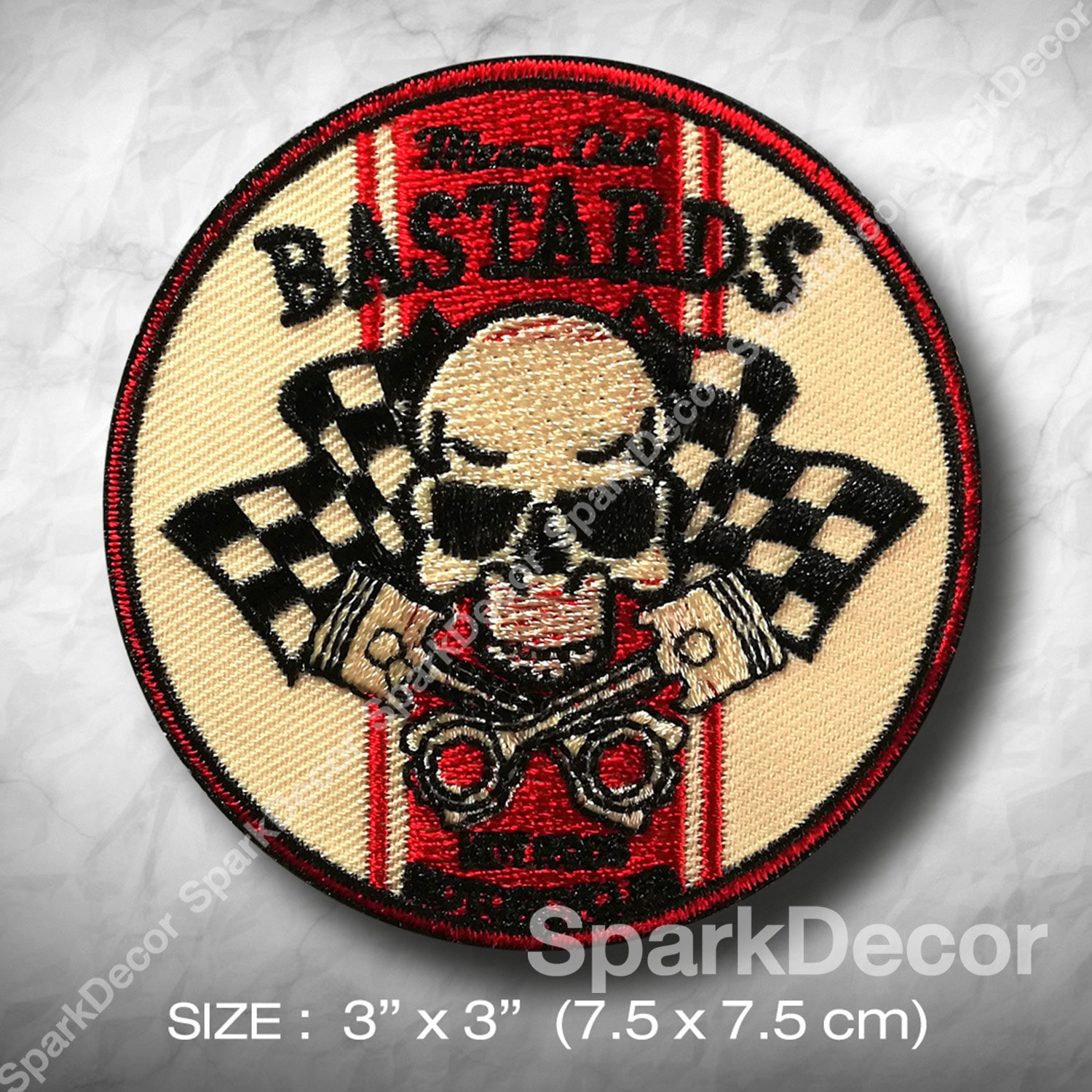 Bare Bone Hot Rod Club  Embroidered Badge Cloth Patch  Iron or Sew